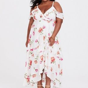 Floral cold sholder high low dress